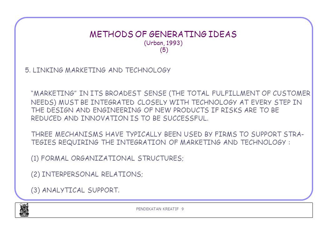PENDEKATAN KREATIF 10 METHODS OF GENERATING IDEAS (Urban, 1993) (6) 6.