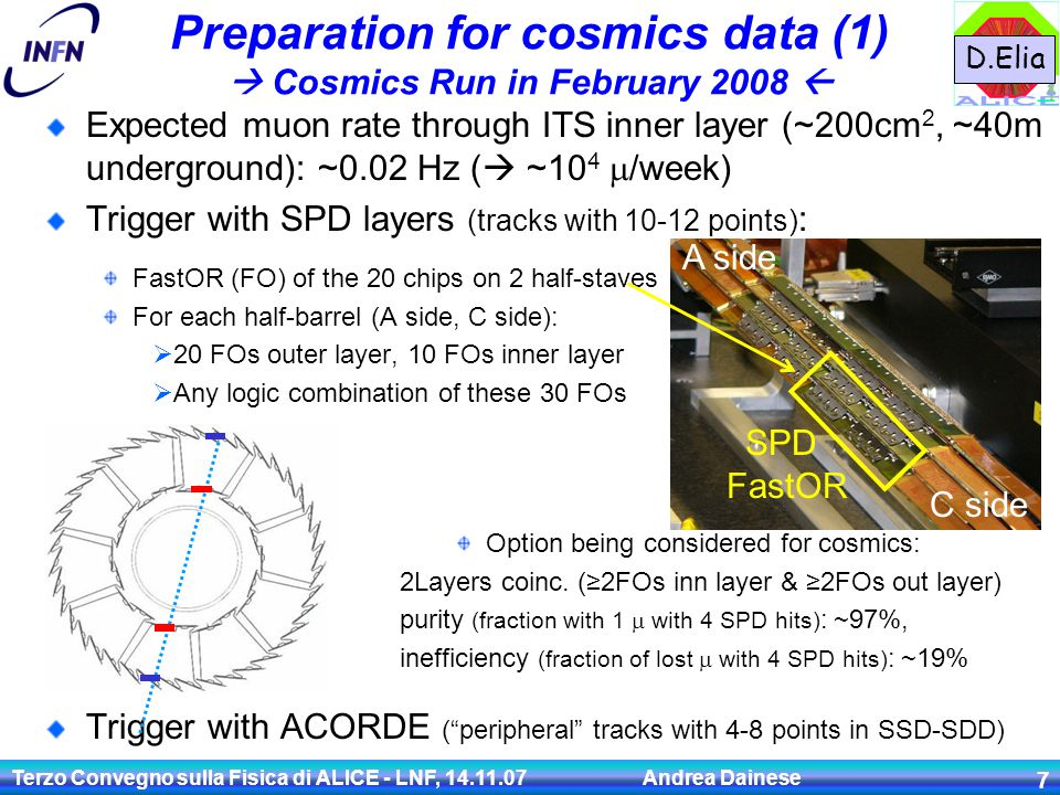 Terzo Convegno sulla Fisica di ALICE - LNF, 14.11.07 Andrea Dainese 7 Preparation for cosmics data (1)  Cosmics Run in February 2008  Expected muon rate through ITS inner layer (~200cm 2, ~40m underground): ~0.02 Hz (  ~10 4  /week) Trigger with SPD layers (tracks with 10-12 points) : Trigger with ACORDE ( peripheral tracks with 4-8 points in SSD-SDD) FastOR (FO) of the 20 chips on 2 half-staves For each half-barrel (A side, C side):  20 FOs outer layer, 10 FOs inner layer  Any logic combination of these 30 FOs SPD FastOR Option being considered for cosmics: 2Layers coinc.
