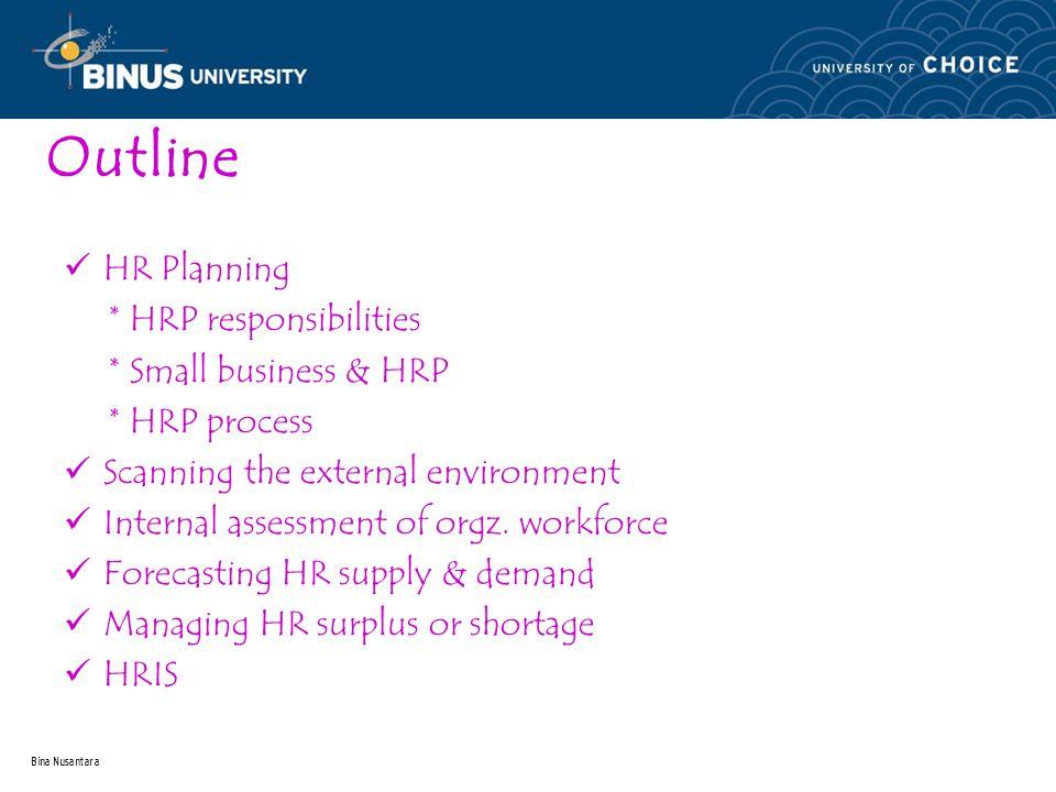 Bina Nusantara Outline HR Planning * HRP responsibilities * Small business & HRP * HRP process Scanning the external environment Internal assessment of orgz.
