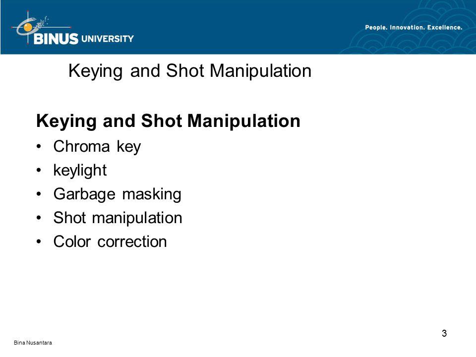 Bina Nusantara Keying and Shot Manipulation Chroma key keylight Garbage masking Shot manipulation Color correction Keying and Shot Manipulation 3