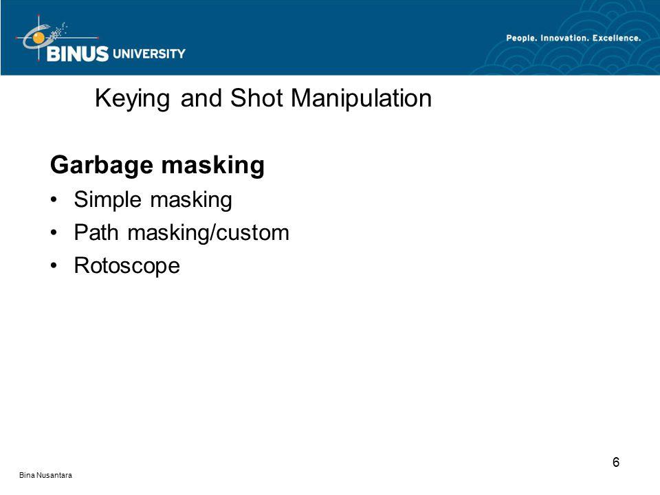 Bina Nusantara Garbage masking Simple masking Path masking/custom Rotoscope Keying and Shot Manipulation 6