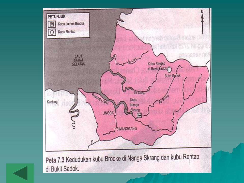 3.Mengapakah Rentap menentang pemerintahan Brooke di Sarawak? I Brooke membakar penempatan Rentap di Nanga Skrang II Brooke menganggap orang Iban di S