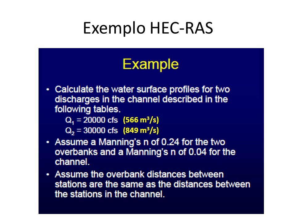 Exemplo HEC-RAS (566 m 3 /s) (849 m 3 /s)
