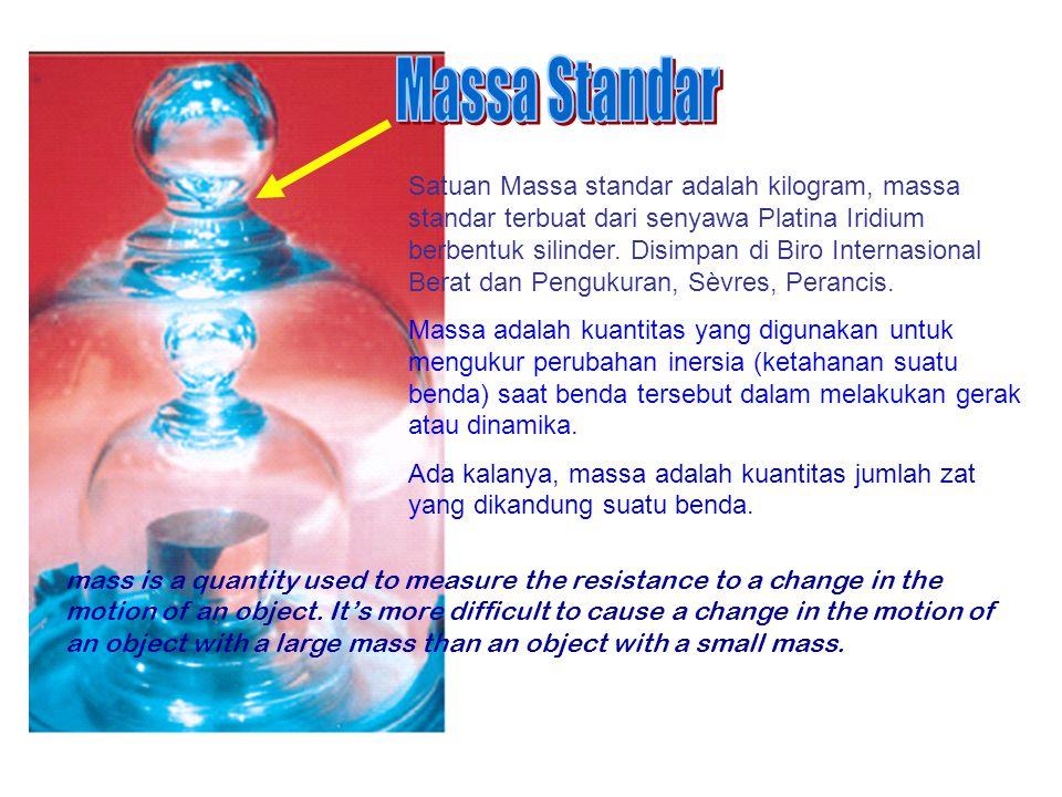 Satuan Massa standar adalah kilogram, massa standar terbuat dari senyawa Platina Iridium berbentuk silinder.