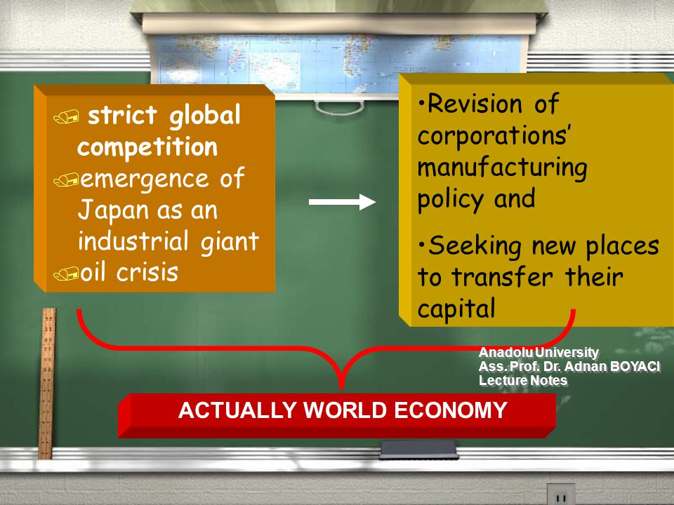 / strict global competition / emergence of Japan as an industrial giant / oil crisis / strict global competition / emergence of Japan as an industrial giant / oil crisis Revision of corporations' manufacturing policy and Seeking new places to transfer their capital ACTUALLY WORLD ECONOMY Anadolu University Ass.
