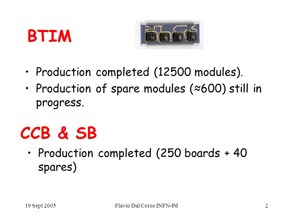 19 Sept 2005Flavio Dal Corso INFN-Pd2 BTIM Production completed (12500 modules).