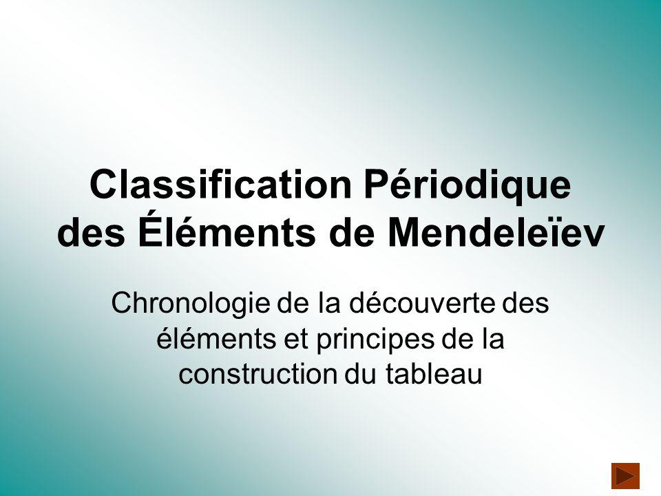 Classification Périodique des Éléments de Mendeleïev Chronologie de la découverte des éléments et principes de la construction du tableau
