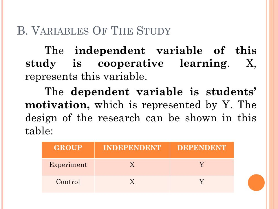 B. V ARIABLES O F T HE S TUDY The independent variable of this study is cooperative learning.
