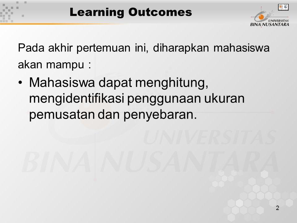 2 Learning Outcomes Pada akhir pertemuan ini, diharapkan mahasiswa akan mampu : Mahasiswa dapat menghitung, mengidentifikasi penggunaan ukuran pemusat