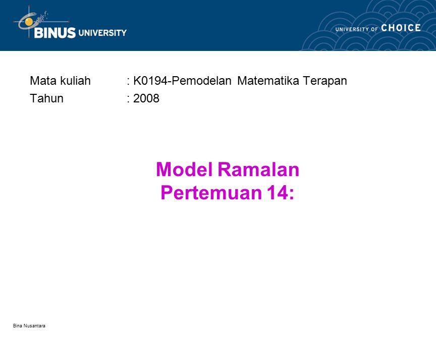 Bina Nusantara Weighted Moving Average: 3/6, 2/6, 1/6 MonthResponse Y i Weighted Moving Average 14 NA 26 35 4 31/6 = 5.167 5 6 .