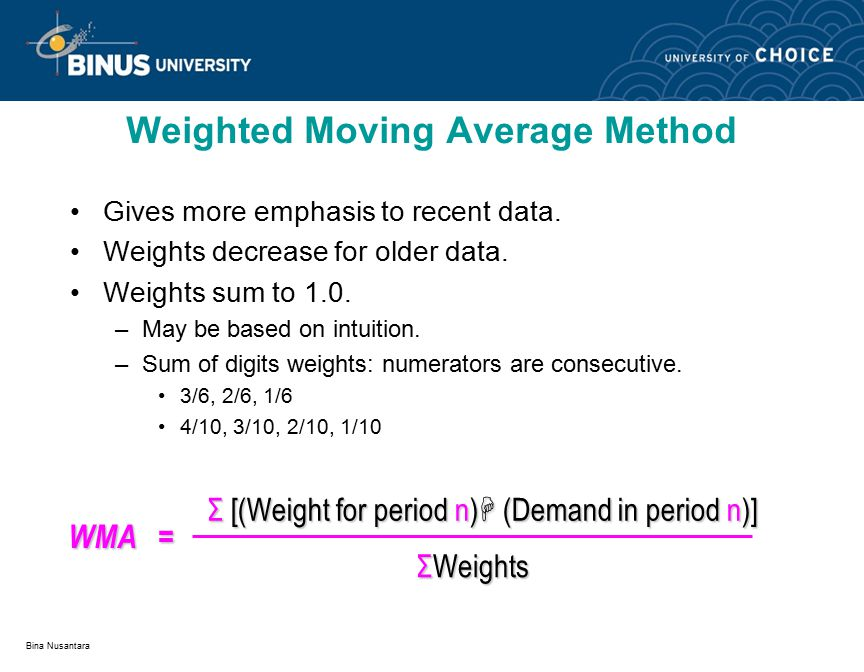 Bina Nusantara Gives more emphasis to recent data. Weights decrease for older data. Weights sum to 1.0. –May be based on intuition. –Sum of digits wei