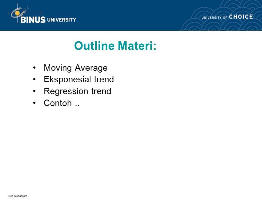 Bina Nusantara Increasing n makes forecast: – Less sensitive to changes.