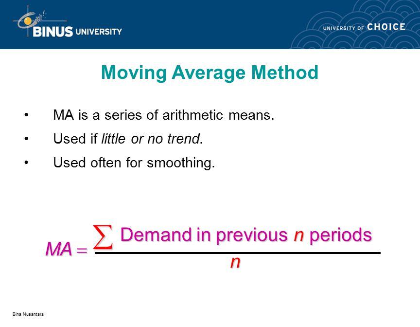 Bina Nusantara Mean Absolute Deviation (MAD) Mean Squared Error (MSE) Forecast Error Equations
