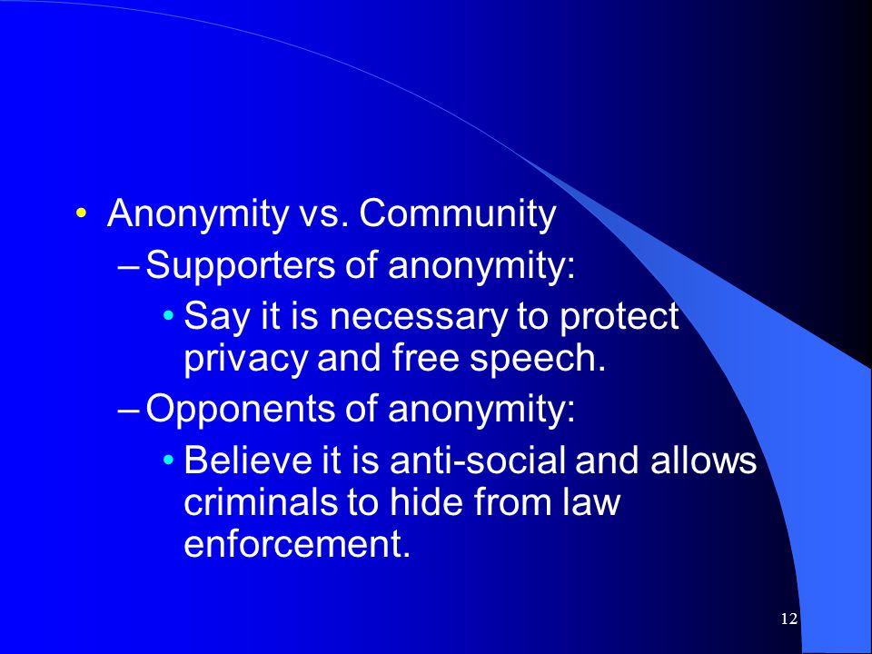 12 Anonymity vs.