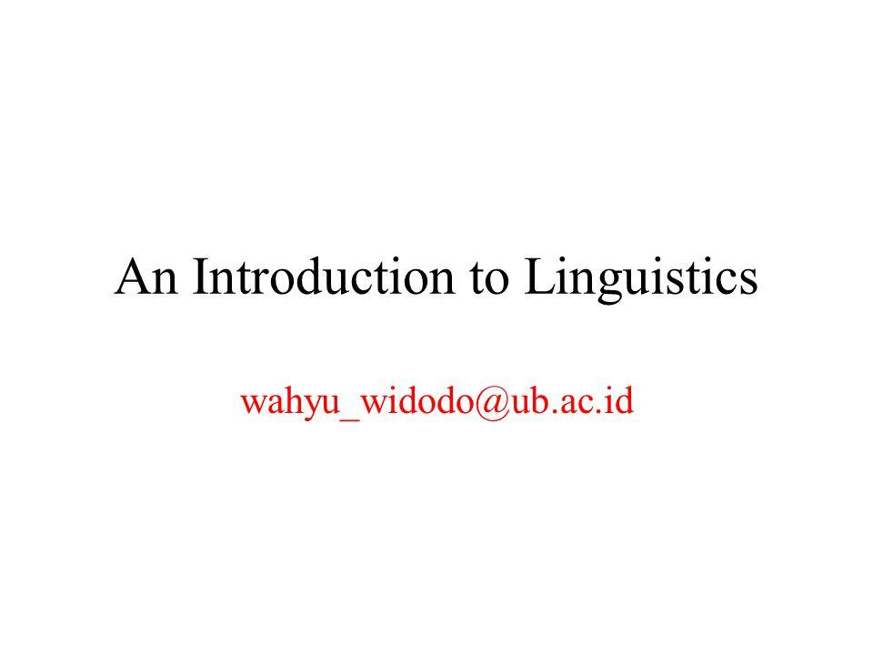 An Introduction to Linguistics wahyu_widodo@ub.ac.id