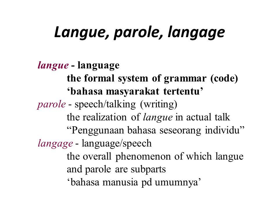 Langue, parole, langage langue – Dialek (dialect) 'bahasa yg didalamnya pendengar dapat memahami penuh apa yg dituturkan' parole – Idiolek (Idiolect)kebiasaan bicara 'seseorang sehingga dapat dikenali siapakah dia' langage – language Tingkat atas atau superstratum dari dialek-dialek