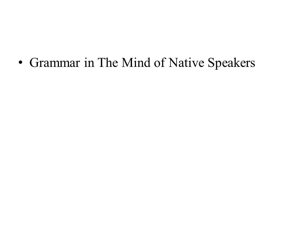 Grammar in The Mind of Native Speakers