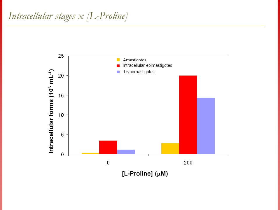 Intracellular stages x [L-Proline] [L-Proline] (  M) Intracellular forms (10 6 mL -1 ) Amastigotes Intracellular epimastigotes Trypomastigotes