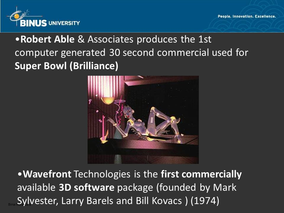 Robert Able & Associates produces the 1st computer generated 30 second commercial used for Super Bowl (Brilliance) Wavefront Technologies is the first