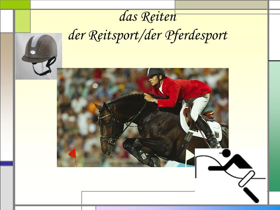das Reiten der Reitsport/der Pferdesport