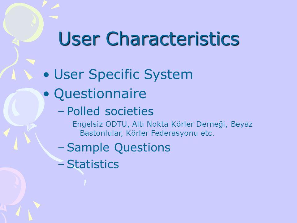 User Characteristics User Specific System Questionnaire –Polled societies Engelsiz ODTU, Altı Nokta Körler Derneği, Beyaz Bastonlular, Körler Federasyonu etc.