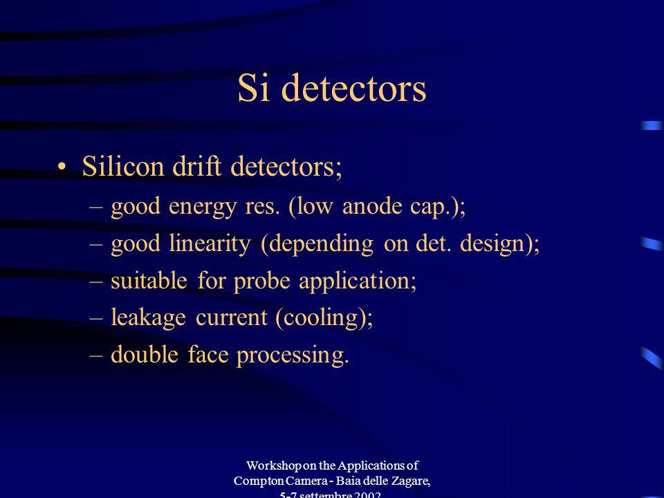 Workshop on the Applications of Compton Camera - Baia delle Zagare, 5-7 settembre 2002. Si detectors Silicon drift detectors; –good energy res. (low a