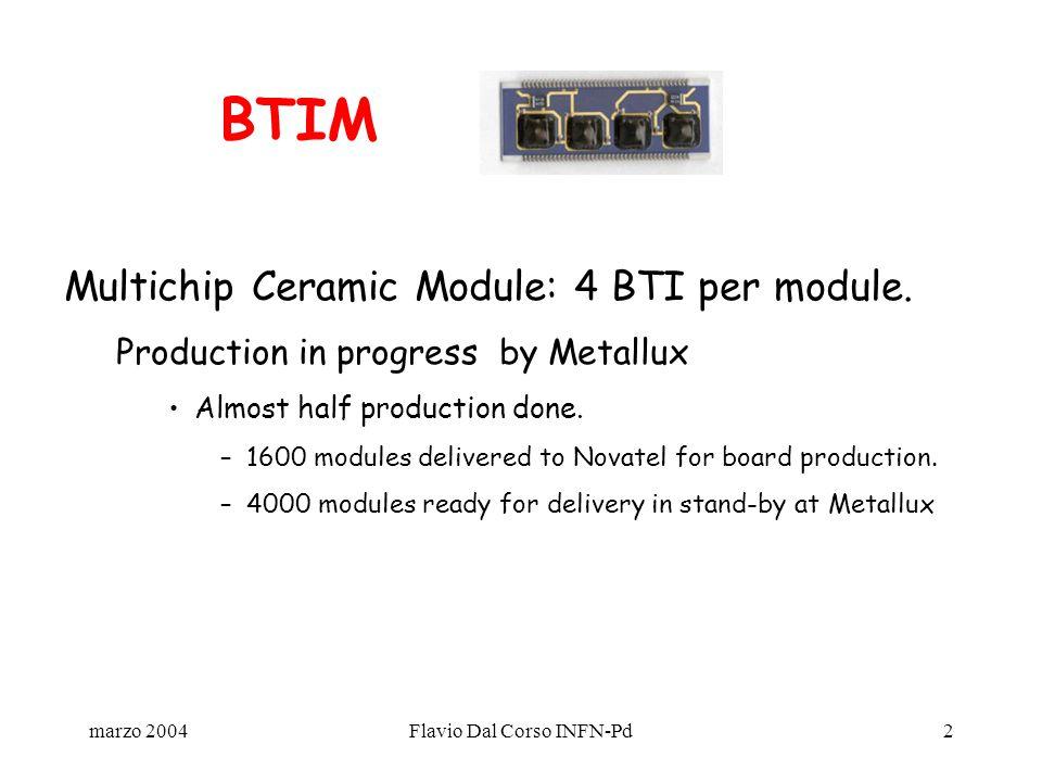 marzo 2004Flavio Dal Corso INFN-Pd2 Multichip Ceramic Module: 4 BTI per module.
