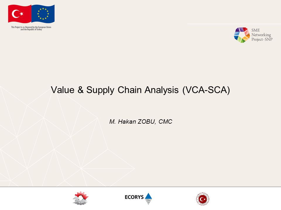 Value & Supply Chain Analysis (VCA-SCA) M. Hakan ZOBU, CMC