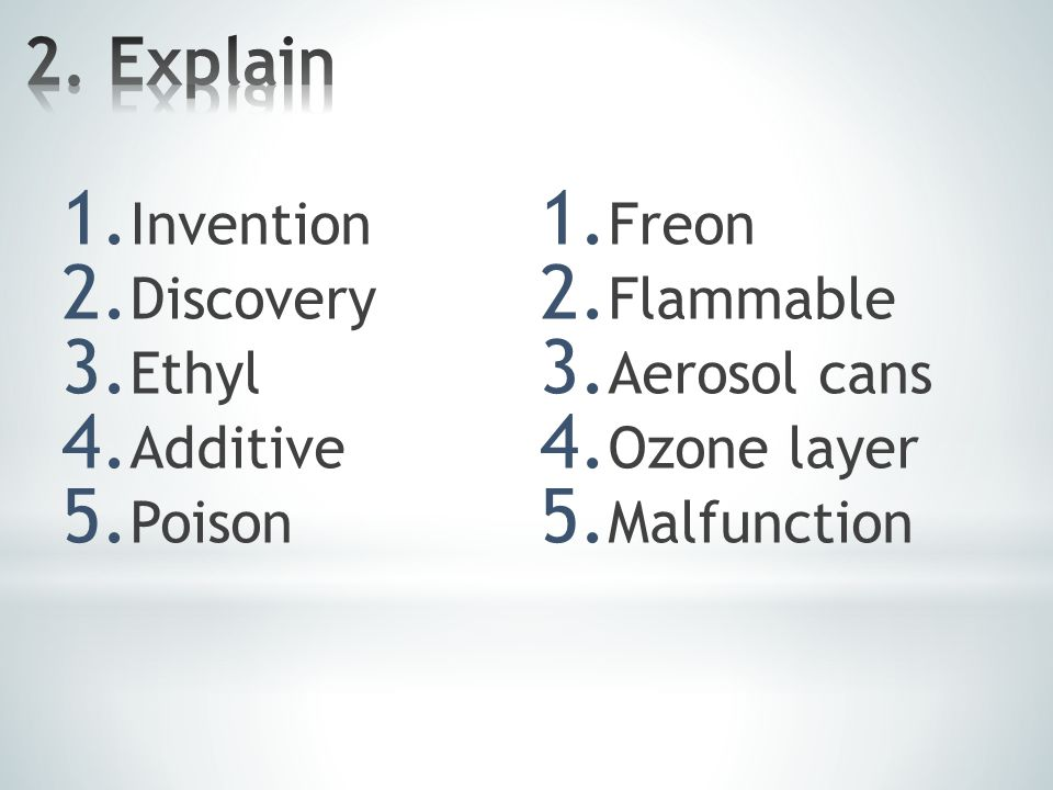 1. Invention 2. Discovery 3. Ethyl 4. Additive 5.