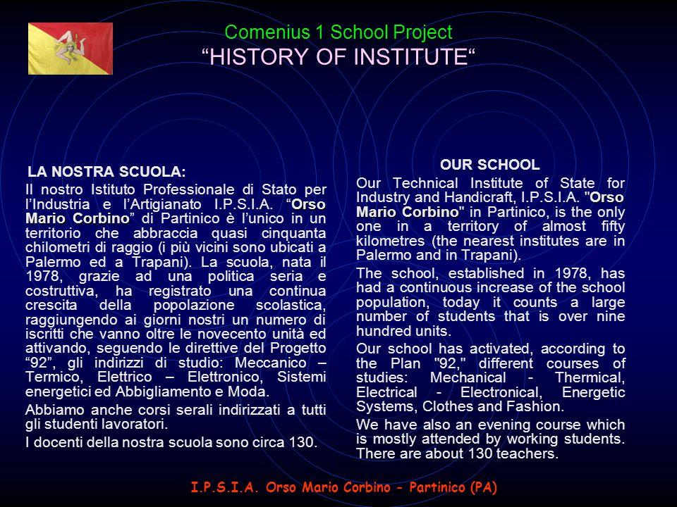 HISTORY OF INSTITUTE Comenius 1 School Project HISTORY OF INSTITUTE LA NOSTRA SCUOLA: Orso Mario Corbino Il nostro Istituto Professionale di Stato per l'Industria e l'Artigianato I.P.S.I.A.