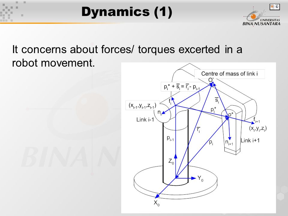 Forward Recursive w.r.t. Inertial Frame Notes : For i = 1 to n; n = number of joints; Input :