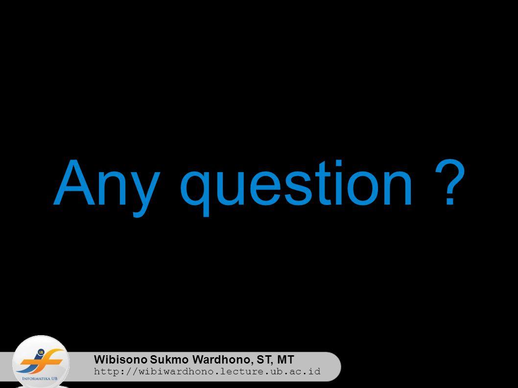 Wibisono Sukmo Wardhono, ST, MT http://wibiwardhono.lecture.ub.ac.id Any question