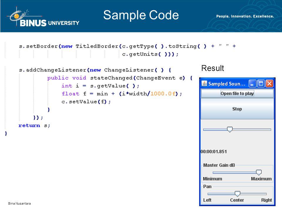 Sample Code Bina Nusantara Result