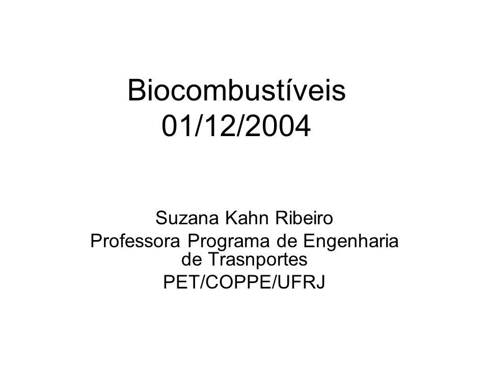 Biocombustíveis 01/12/2004 Suzana Kahn Ribeiro Professora Programa de Engenharia de Trasnportes PET/COPPE/UFRJ