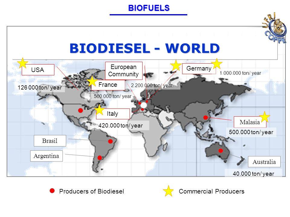 Producers of Biodiesel USA Germany Malasia Australia Brasil Argentina France Italy European Community BIODIESEL - WORLD 1.000.000 ton/ year 500.000 ton/ year 126 000 ton/ year 2.200.000 ton/ year Commercial Producers 40.000 ton/ year 500.000 ton/ year 420.000 ton/ yearBIOFUELS