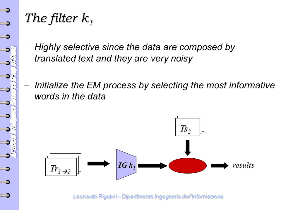 Artificial Intelligence Research Group of Siena Leonardo Rigutini – Dipartimento Ingegneria dell'Informazione The filter k 1 − Highly selective since the data are composed by translated text and they are very noisy − Initialize the EM process by selecting the most informative words in the data Ts 2 results Tr 1  2 IG k 1
