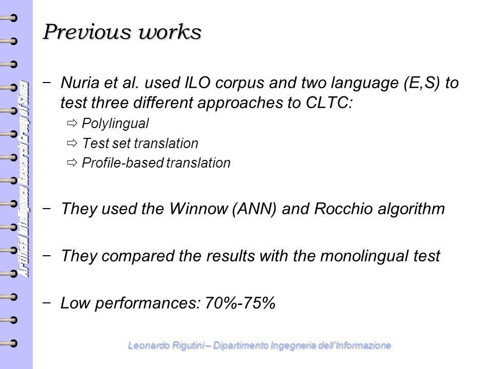Artificial Intelligence Research Group of Siena Leonardo Rigutini – Dipartimento Ingegneria dell'Informazione Previous works − Nuria et al.