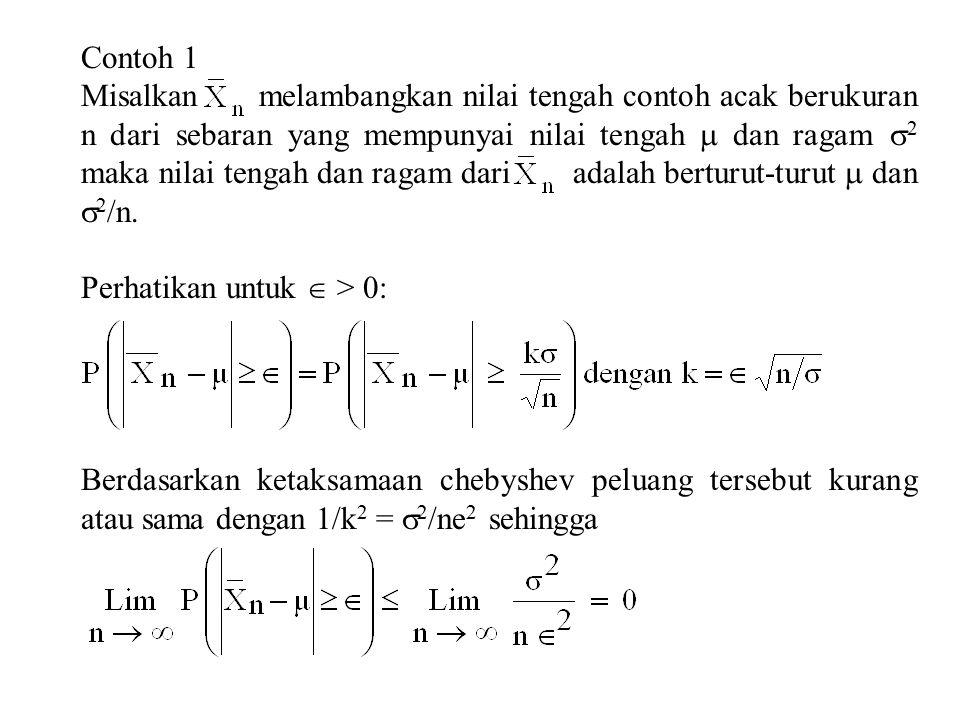 Contoh 1 Misalkan melambangkan nilai tengah contoh acak berukuran n dari sebaran yang mempunyai nilai tengah  dan ragam  2 maka nilai tengah dan ragam dari adalah berturut-turut  dan  2 /n.