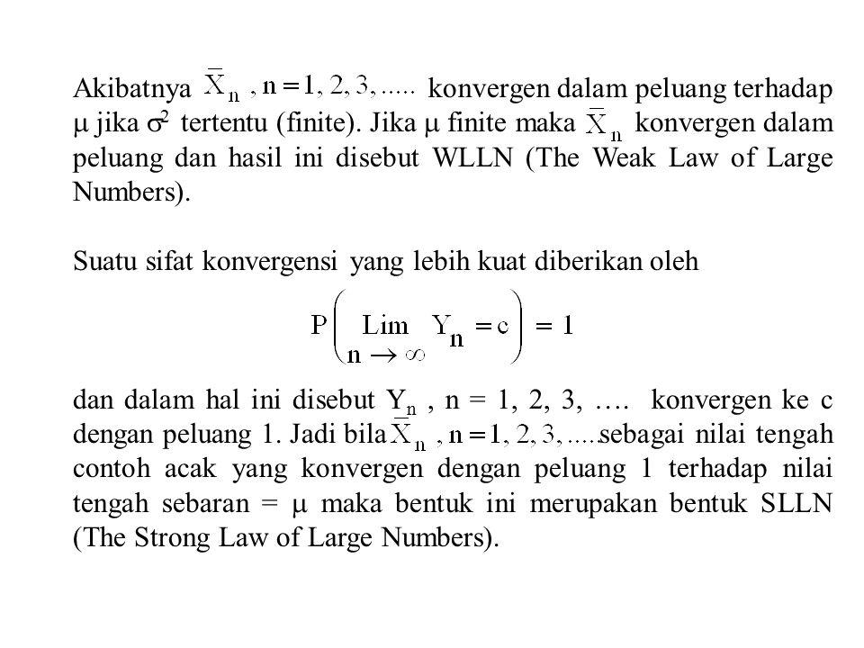 Akibatnya konvergen dalam peluang terhadap  jika  2 tertentu (finite).