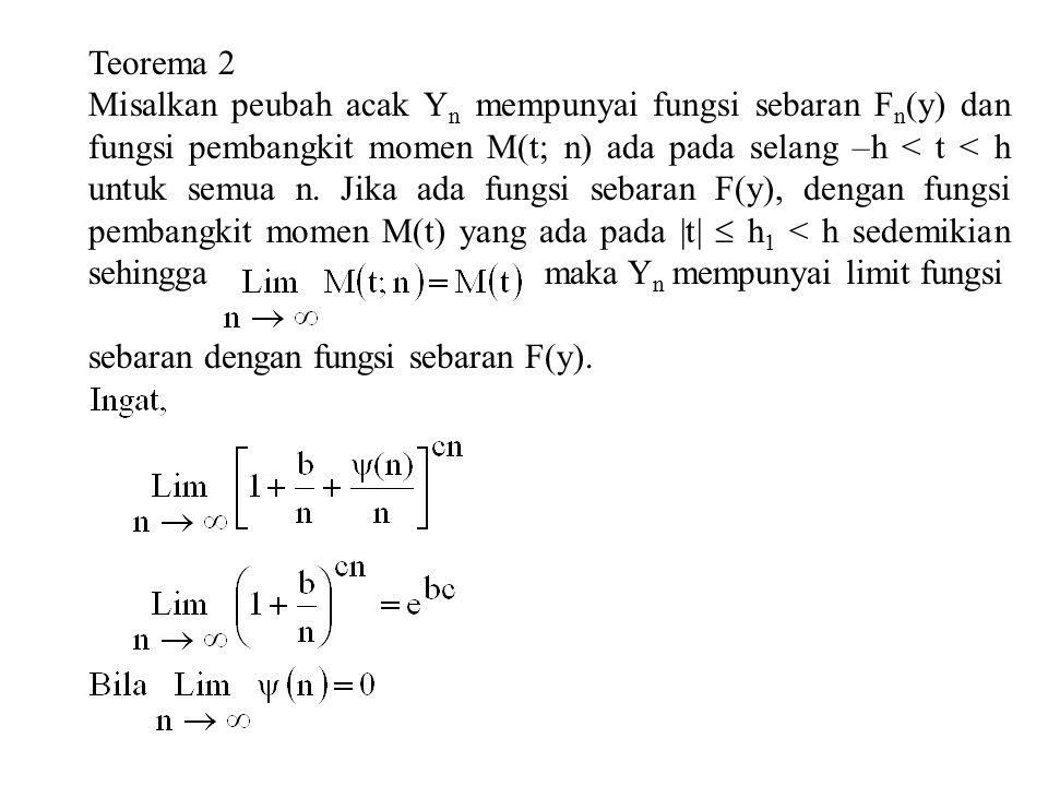Teorema 2 Misalkan peubah acak Y n mempunyai fungsi sebaran F n (y) dan fungsi pembangkit momen M(t; n) ada pada selang –h < t < h untuk semua n.