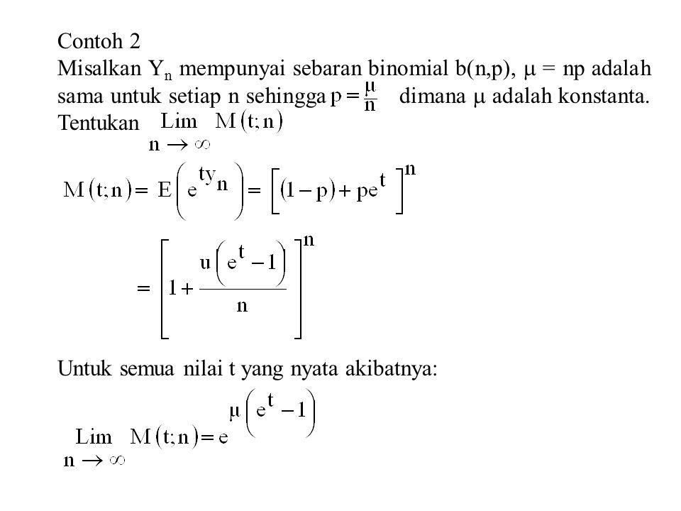 Contoh 2 Misalkan Y n mempunyai sebaran binomial b(n,p),  = np adalah sama untuk setiap n sehingga dimana  adalah konstanta.
