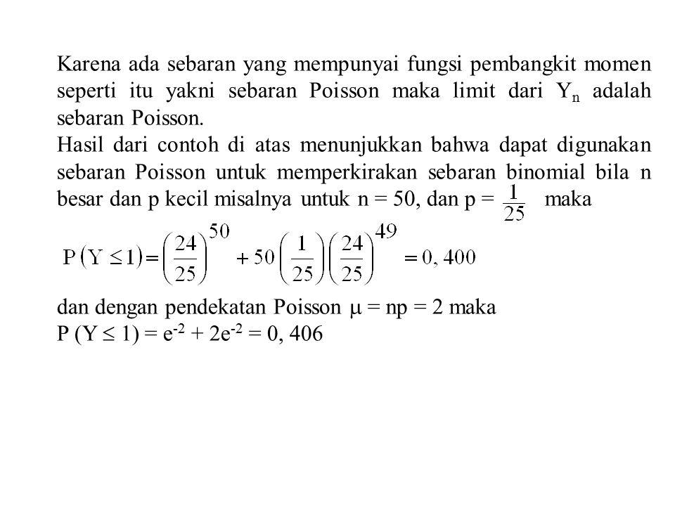 Karena ada sebaran yang mempunyai fungsi pembangkit momen seperti itu yakni sebaran Poisson maka limit dari Y n adalah sebaran Poisson.