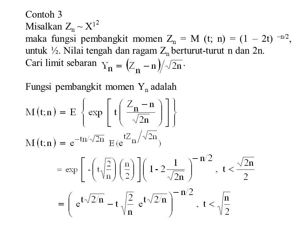 Contoh 3 Misalkan Z n ~ X 1 2 maka fungsi pembangkit momen Z n = M (t; n) = (1 – 2t) –n/2, untuk ½.