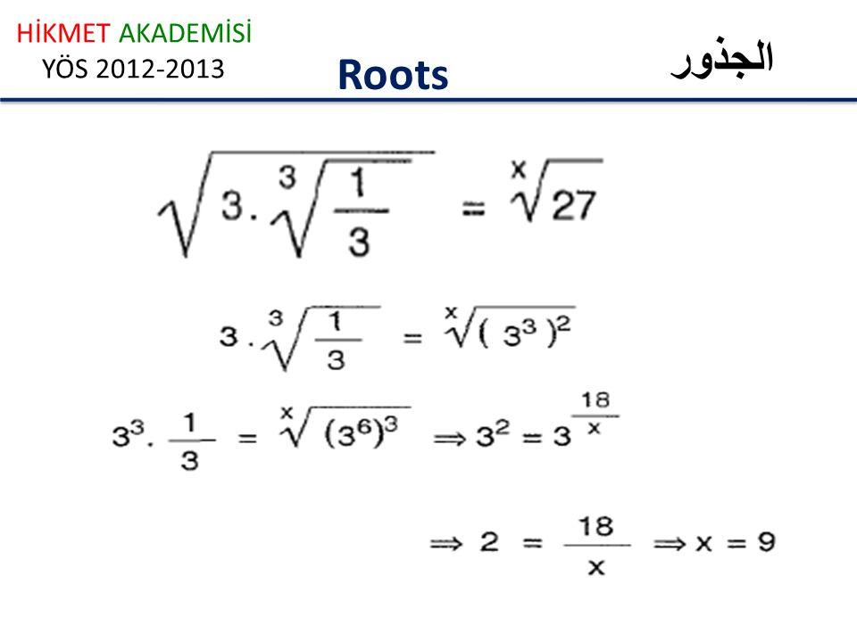HİKMET AKADEMİSİ YÖS 2012-2013 الجذور Roots