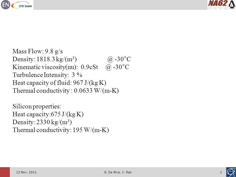 222 Nov. 2011E. Da Riva, V. Rao Mass Flow: 9.8 g/s Density: 1818.3 kg/(m 3 ) @ -30°C Kinematic viscosity(nu): 0.9cSt @ -30°C Turbulence Intensity: 3 %