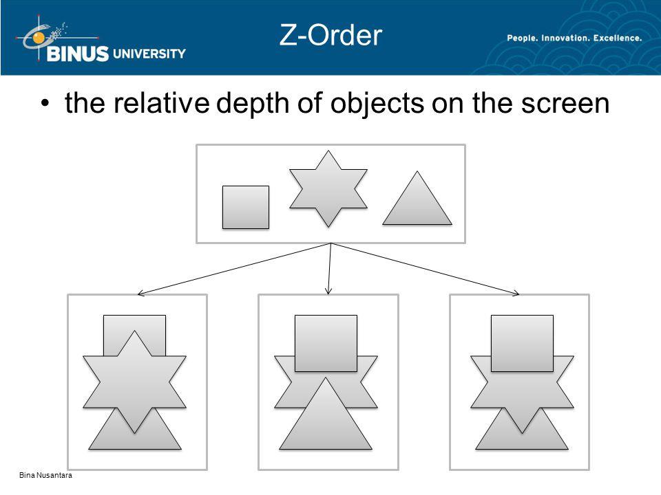 Z-Order the relative depth of objects on the screen Bina Nusantara