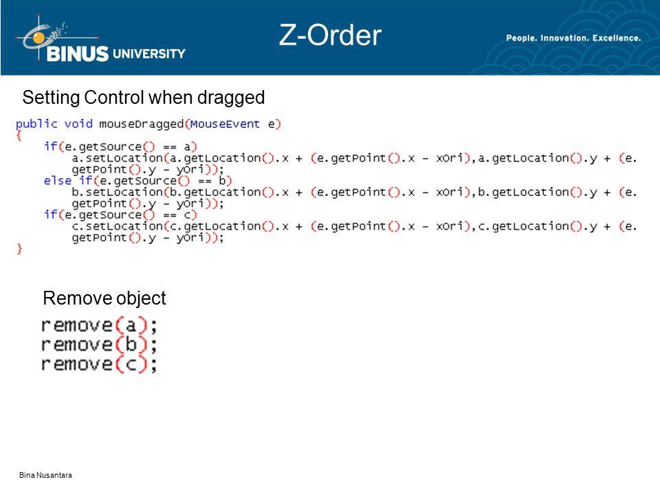 Z-Order Bina Nusantara Setting Control when dragged Remove object