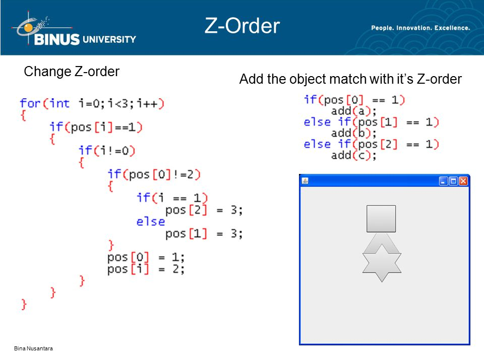 Z-Order Bina Nusantara Change Z-order Add the object match with it's Z-order