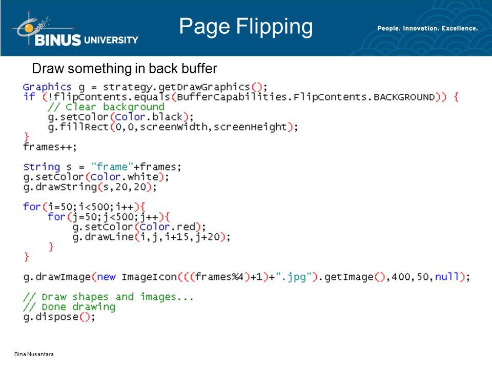 Page Flipping Bina Nusantara Draw something in back buffer