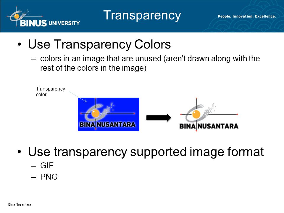 Transparency Use Transparency Colors –colors in an image that are unused (aren t drawn along with the rest of the colors in the image) Use transparency supported image format –GIF –PNG Bina Nusantara Transparency color